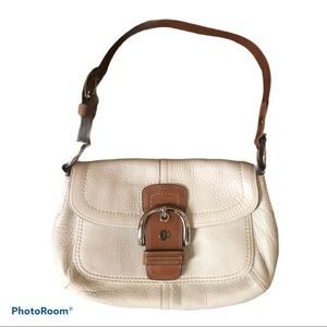 Coach White Pebbled Leather Soho Shoulder Bag